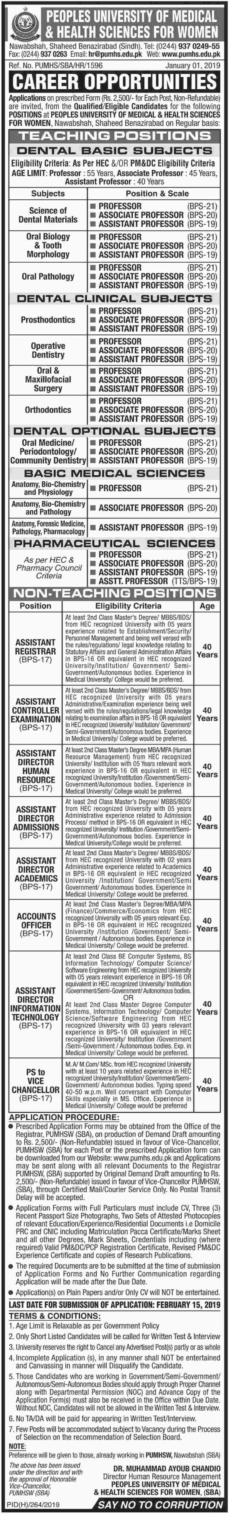 PUMHS Jobs 2019 Peoples University of Medical & Health Sciences for Women