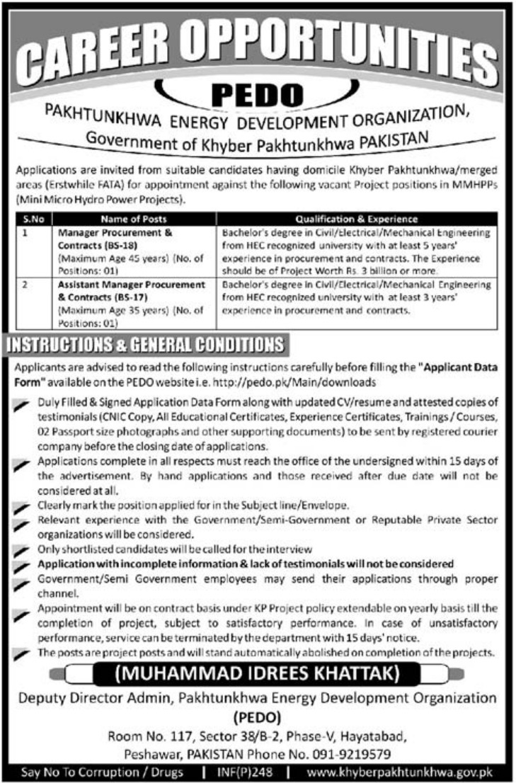 Pakhtunkhwa Energy Development Organization Jobs 2019 PEDO KPK