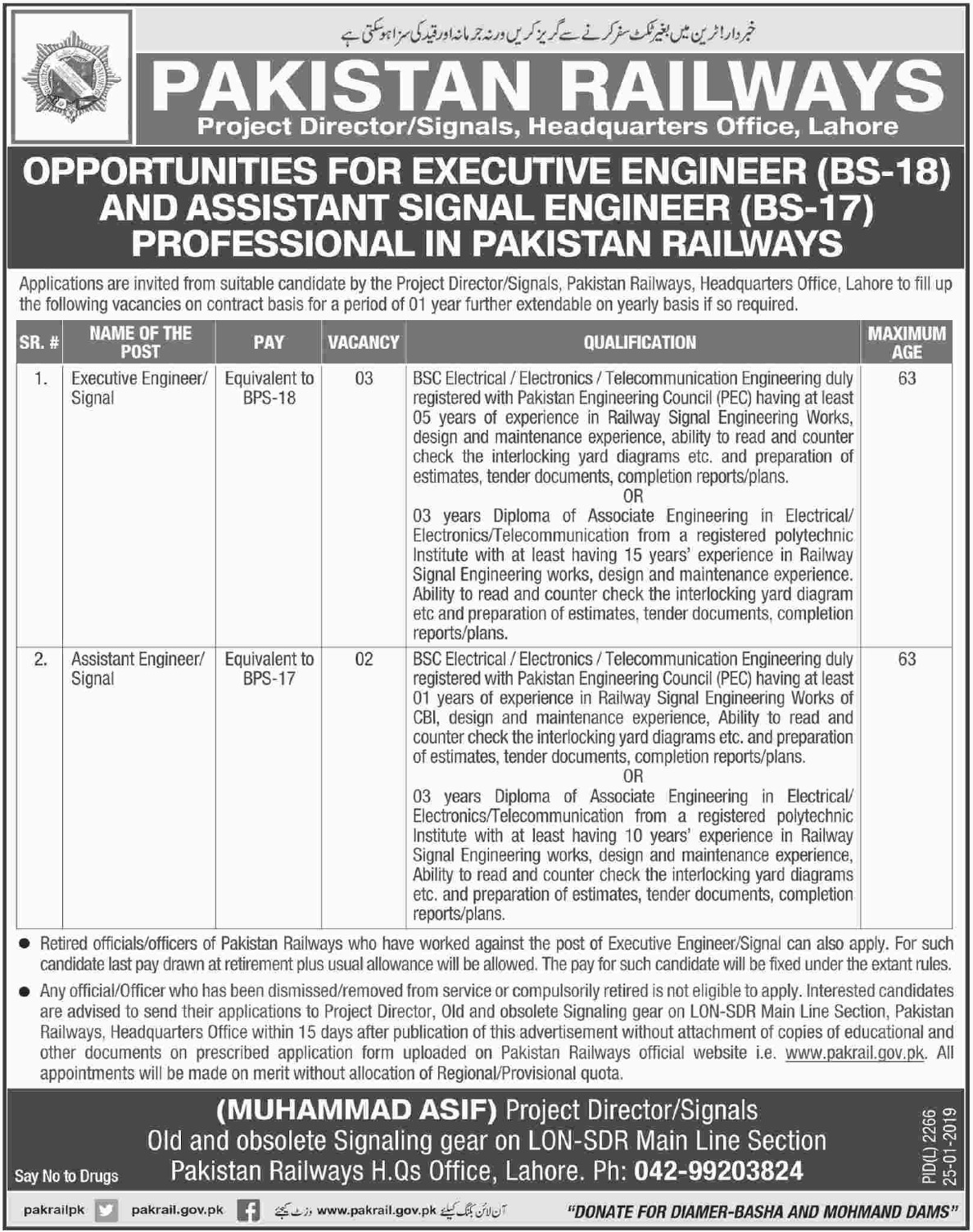 Pakistan Railways Jobs 2019 Executive Engineer
