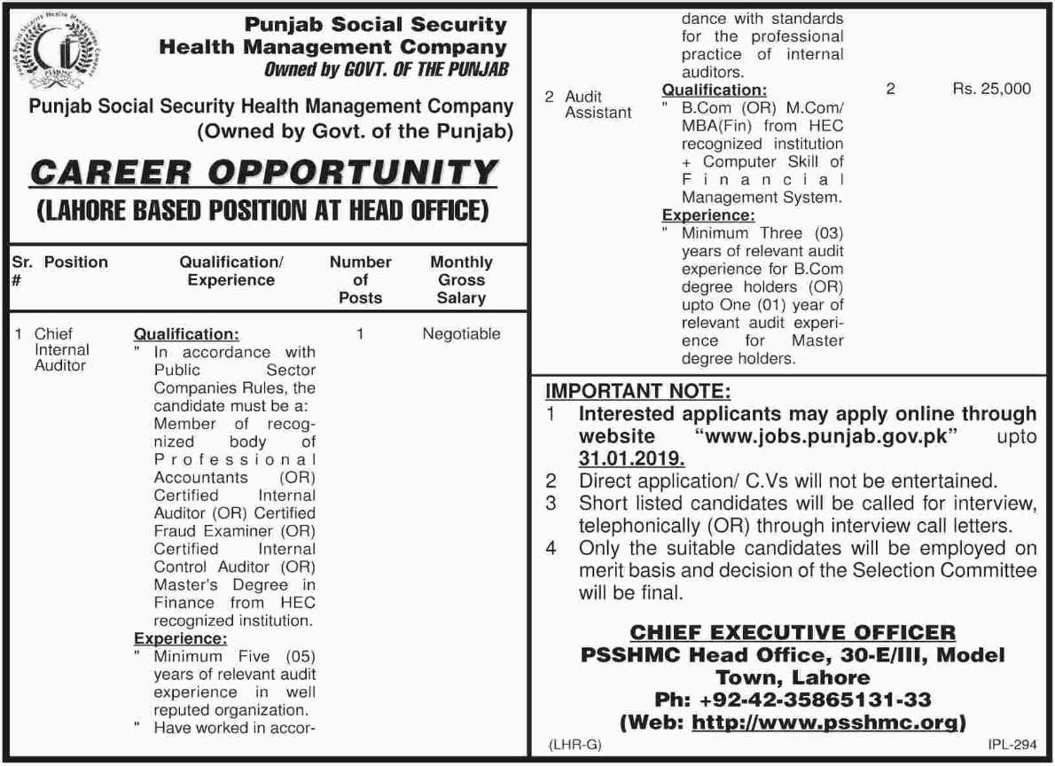 Punjab Social Security Health Management Company Jobs 2019 PSSHMC