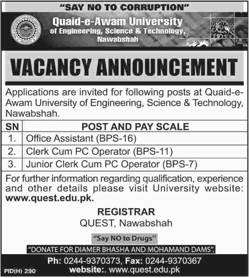 Quaid-e-Awam University of Engineering Science & Technology Nawabshah Jobs 2019