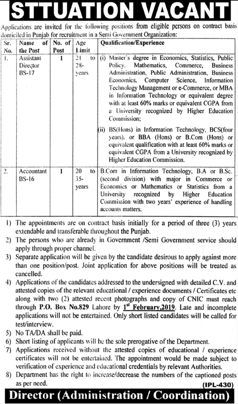 Semi Government Organization Jobs 2019 Latest