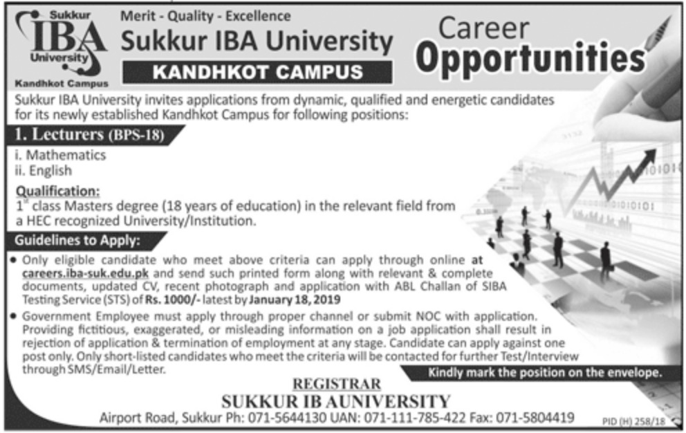 Sukkur IBA University Jobs 2019 Kandhkot Campus