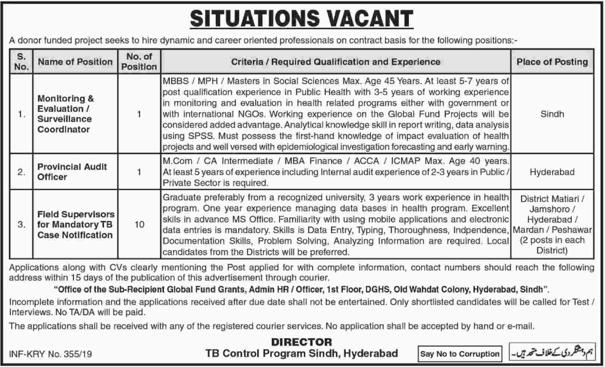 TB Control Program Sindh Hyderabad Jobs 2019 Donor Funded Project