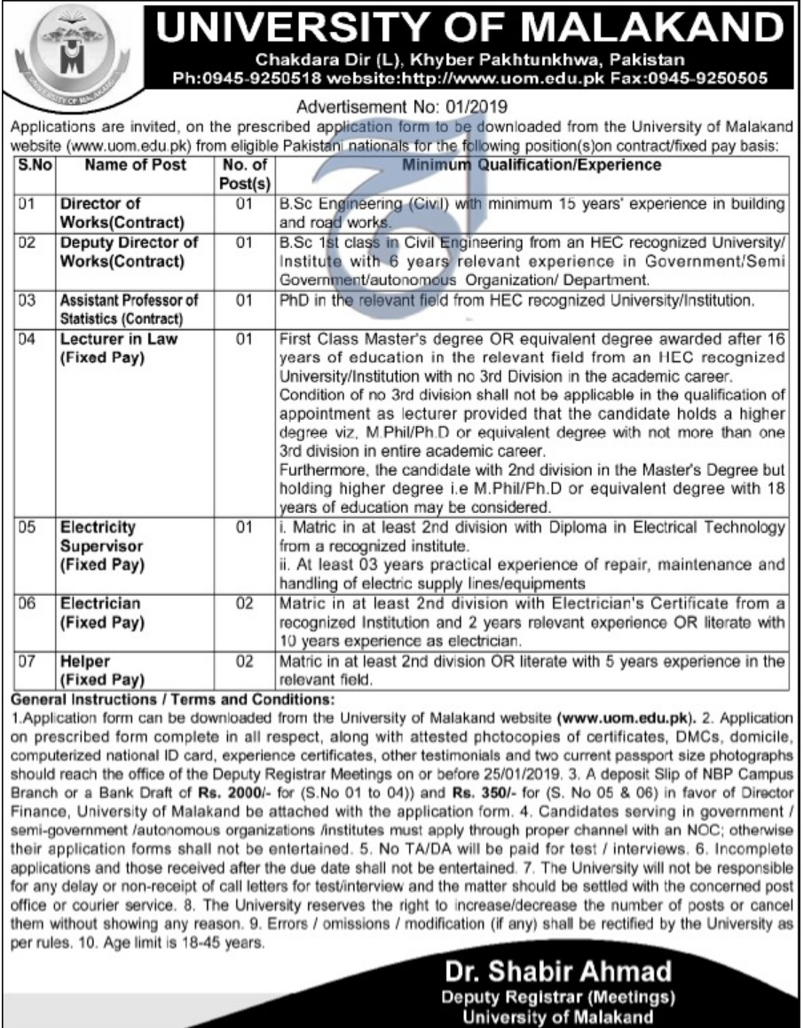 University of Malakand Jobs 2019 KPK Latest