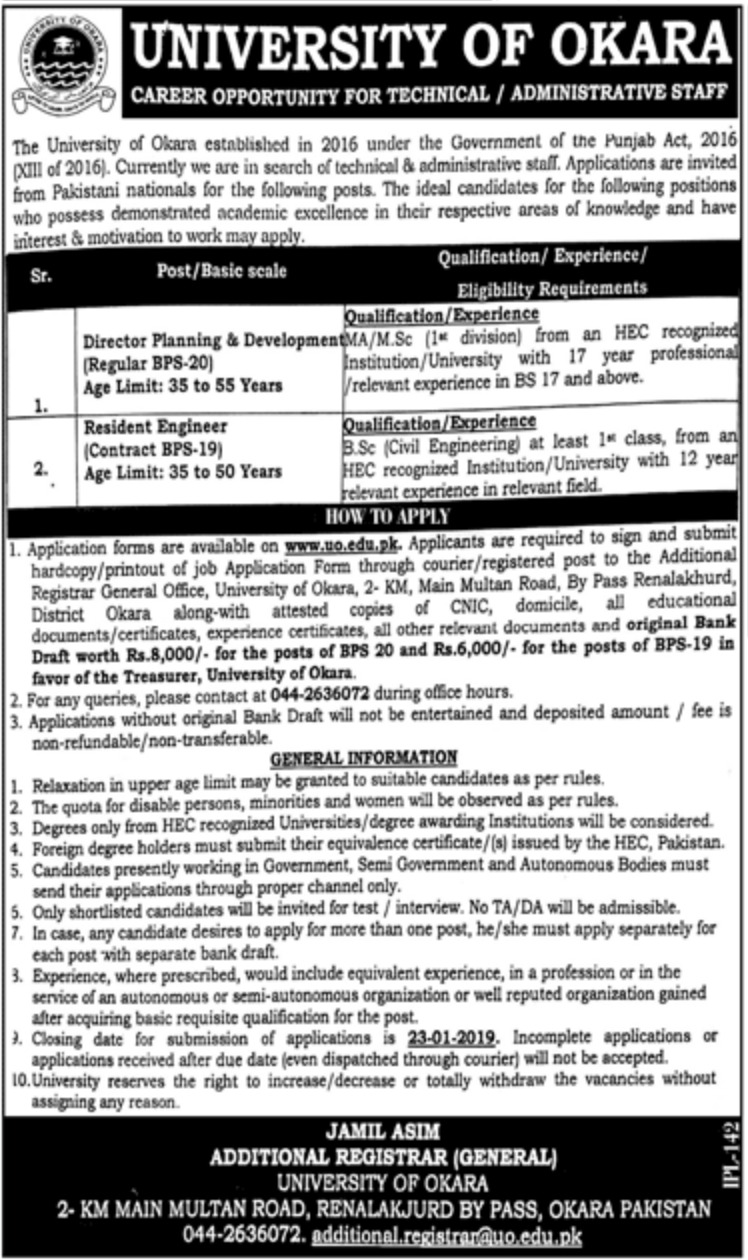 University of Okara Jobs 2019 Latest