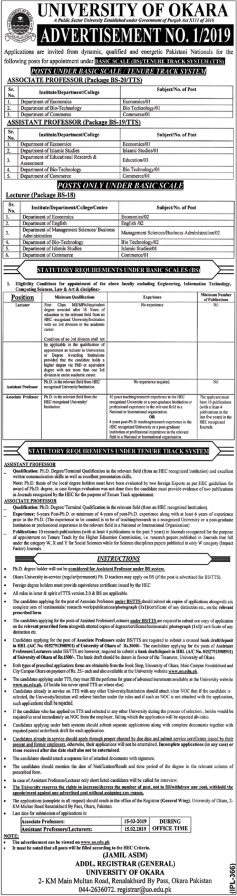 University of Okara Jobs 2019 Pakistan Latest