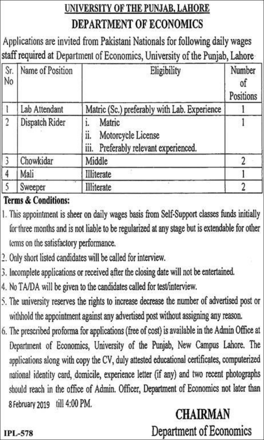 University of Punjab Lahore Jobs 2019 Latest