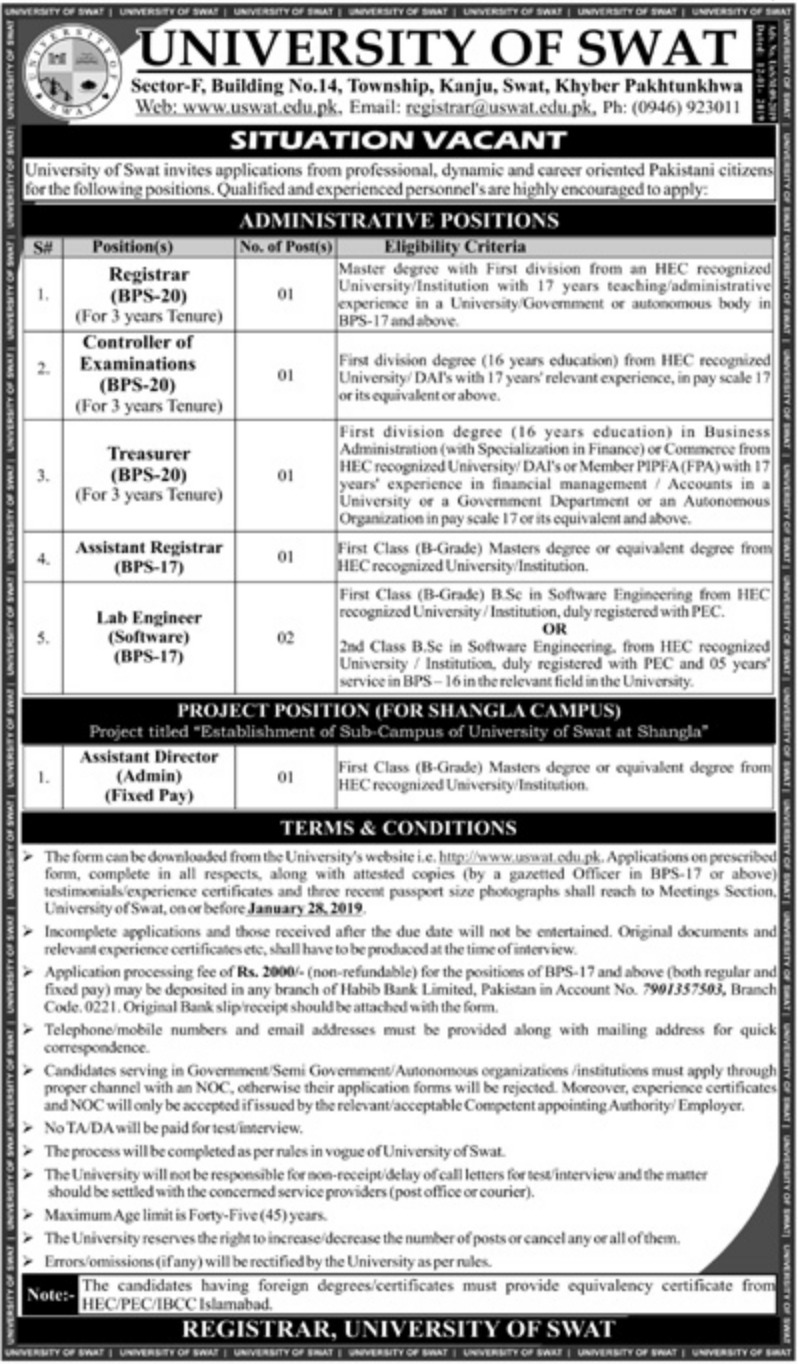 University of Swat Jobs 2019 KPK Latest