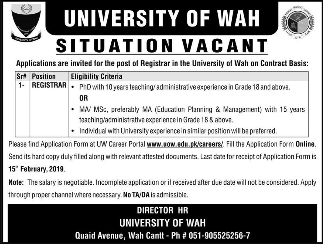 University of Wah Jobs 2019 Registrar Latest