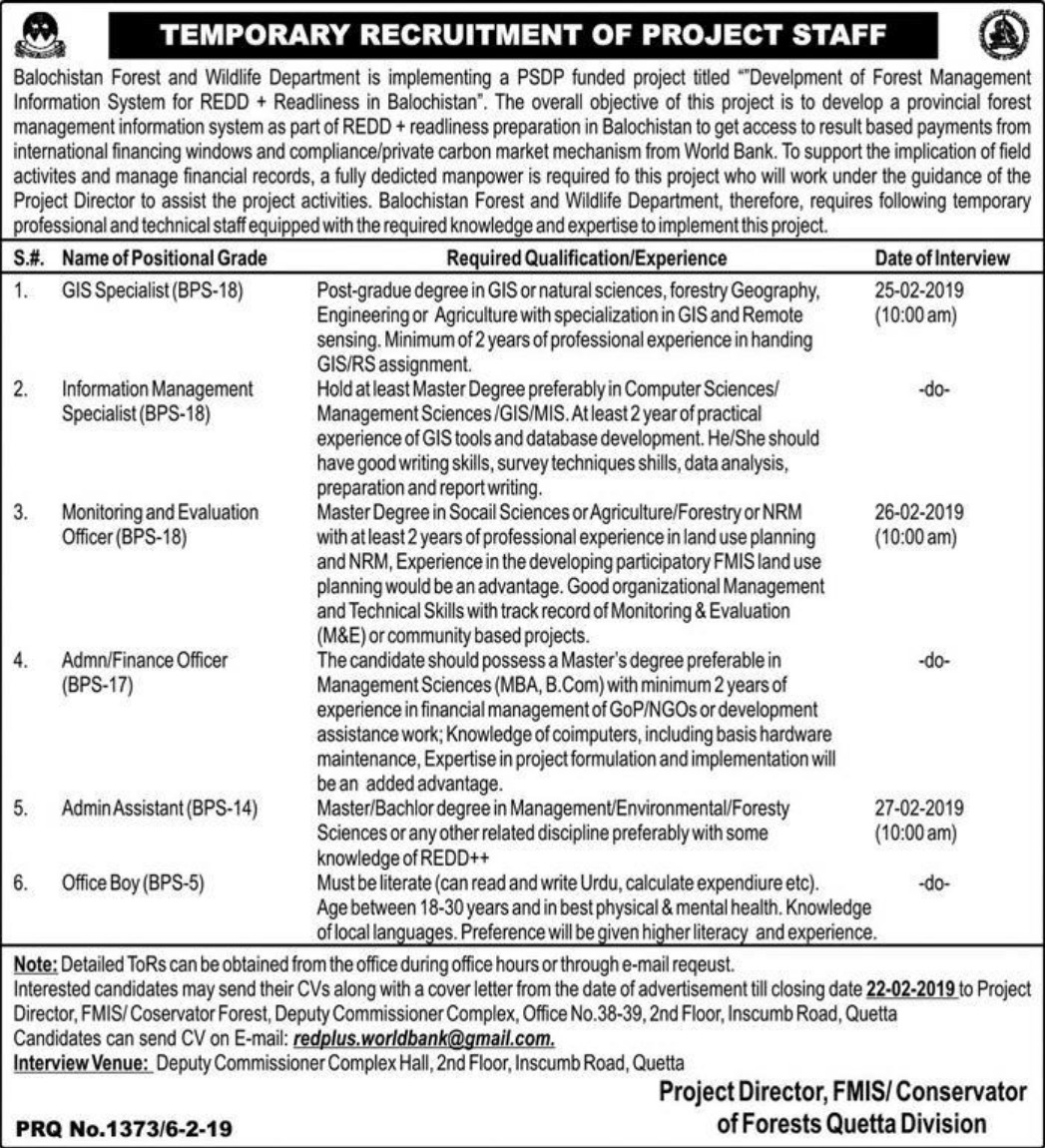 Balochistan Forest & Wildlife Department Jobs 2019 Quetta Latest