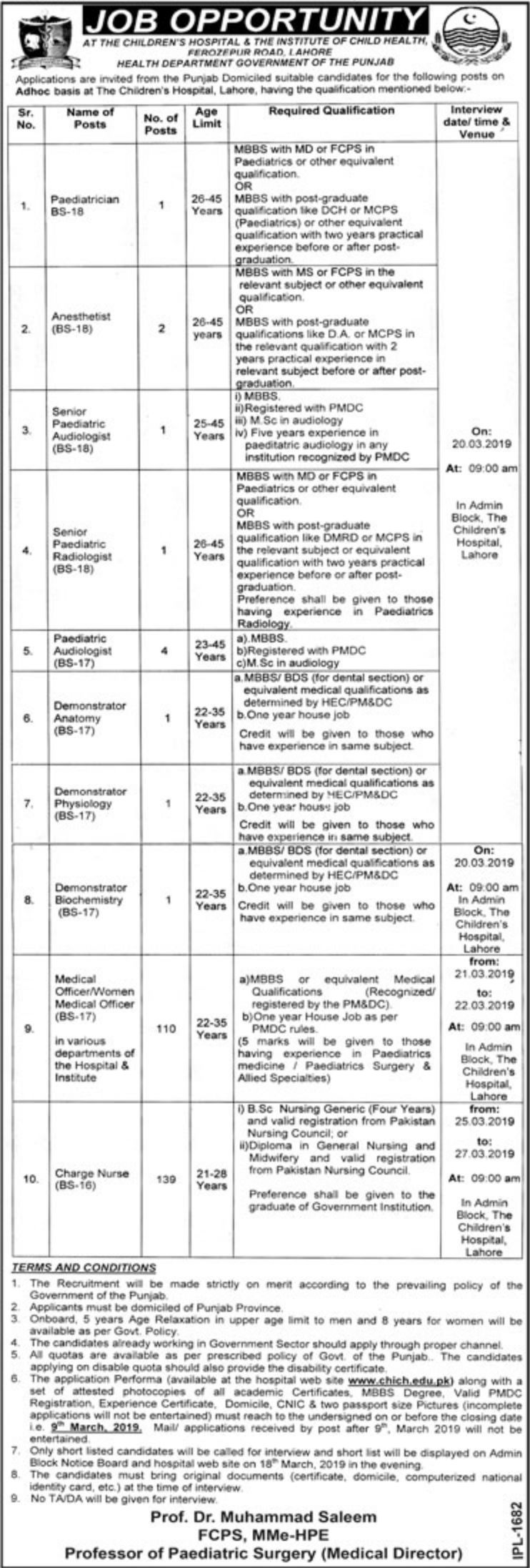 Children Hospital Lahore Jobs 2019 The Institute of Child Health Latest