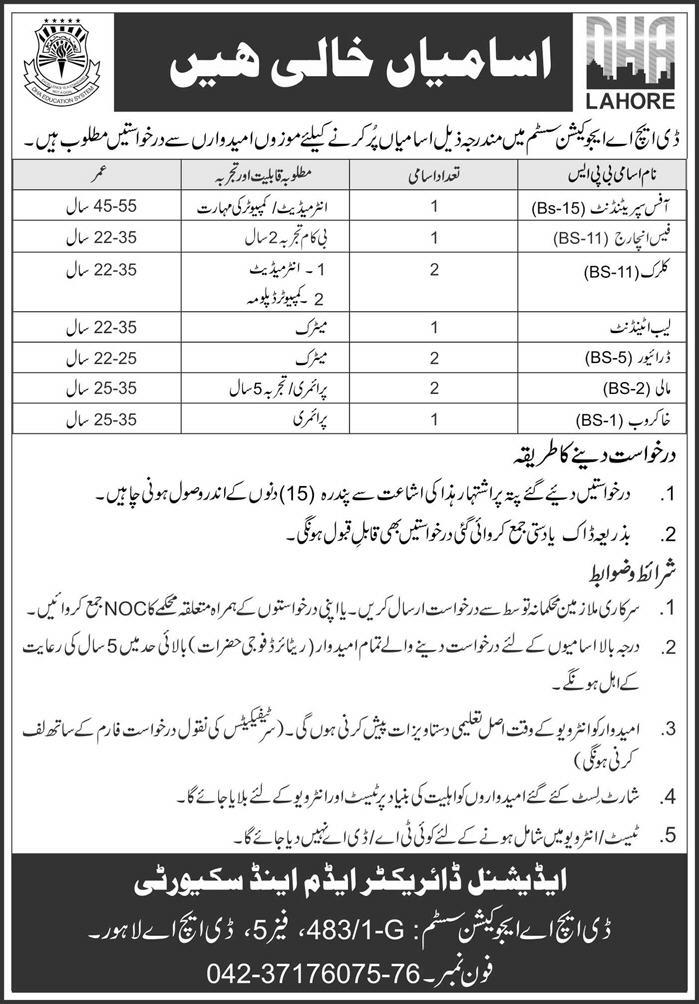 DHA Education System Jobs 2019
