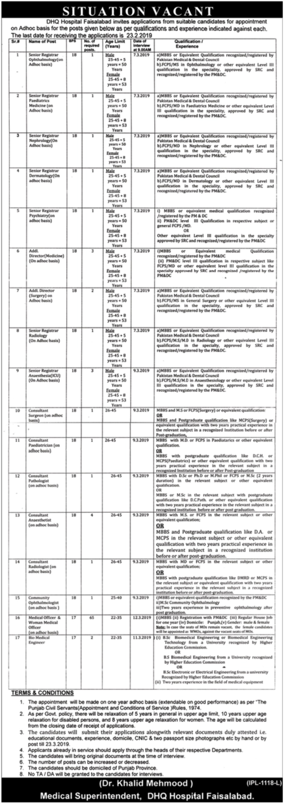 DHQ Hospital Faisalabad Jobs 2019 Pakistan Latest