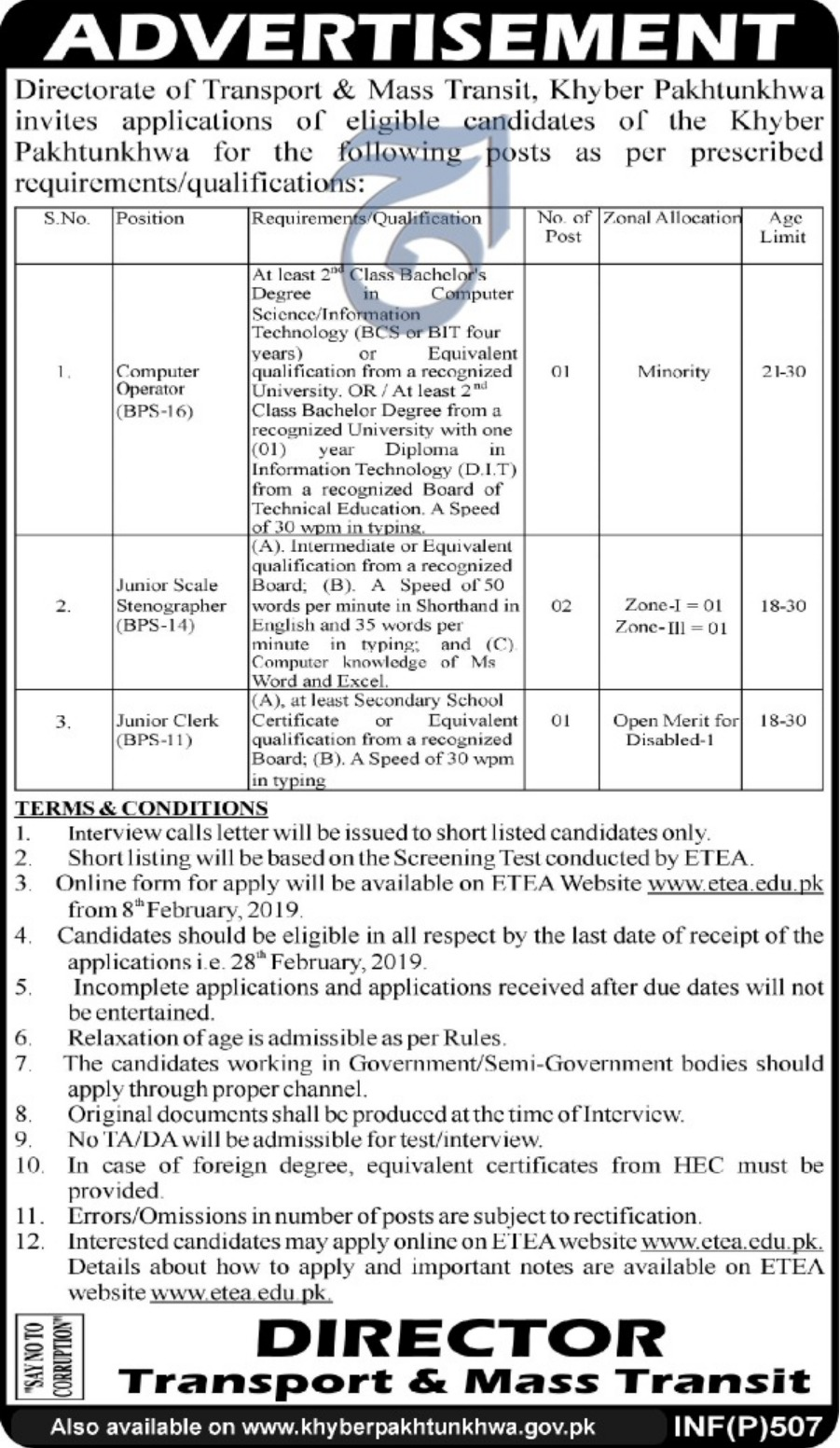 Directorate of Transport & Mass Transit Peshawar Jobs 2019 ETEA KPK Latest