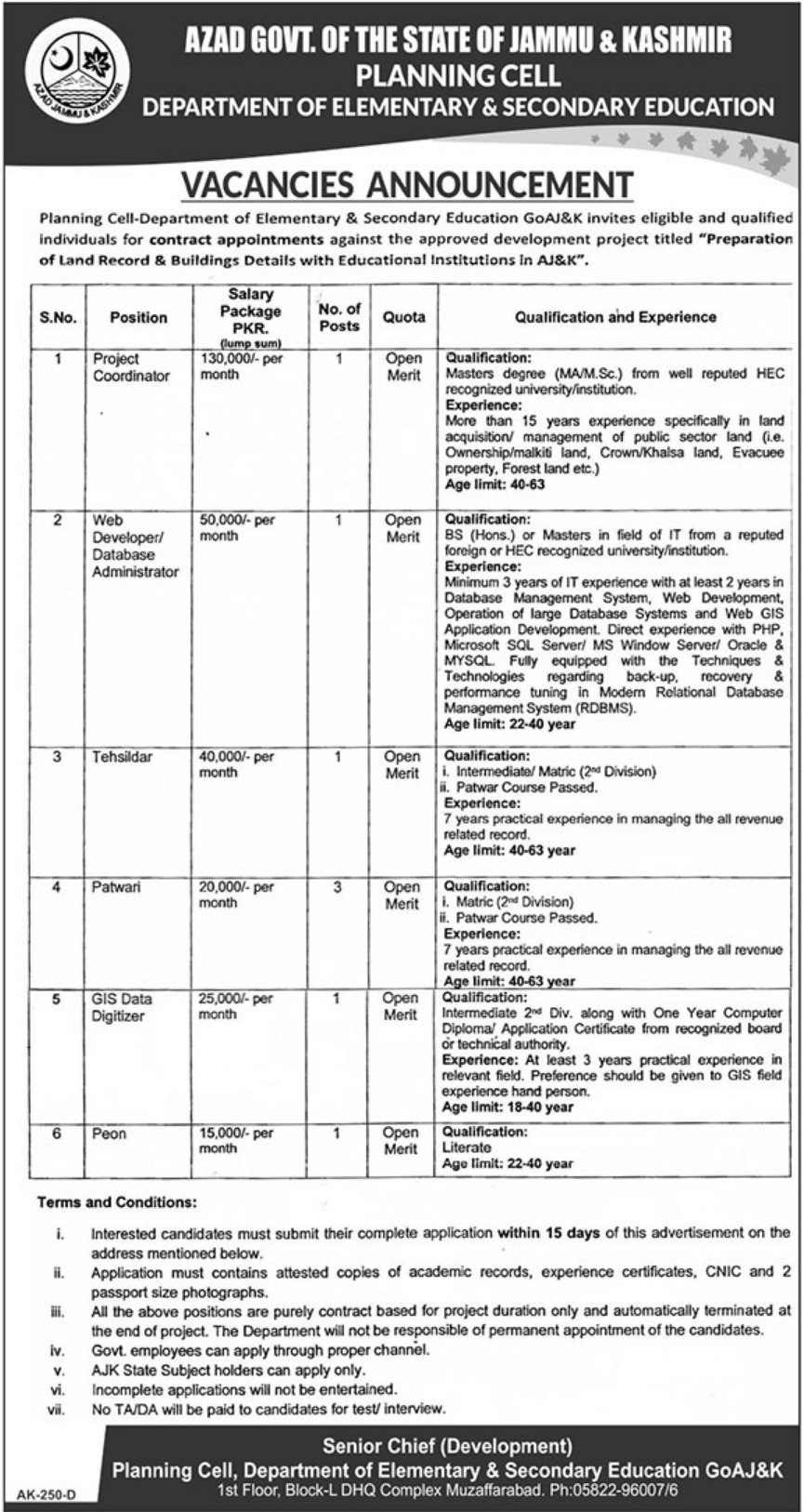 Elementary & Secondary Education Department Jobs 2019 ESED Muzaffarabad AJK