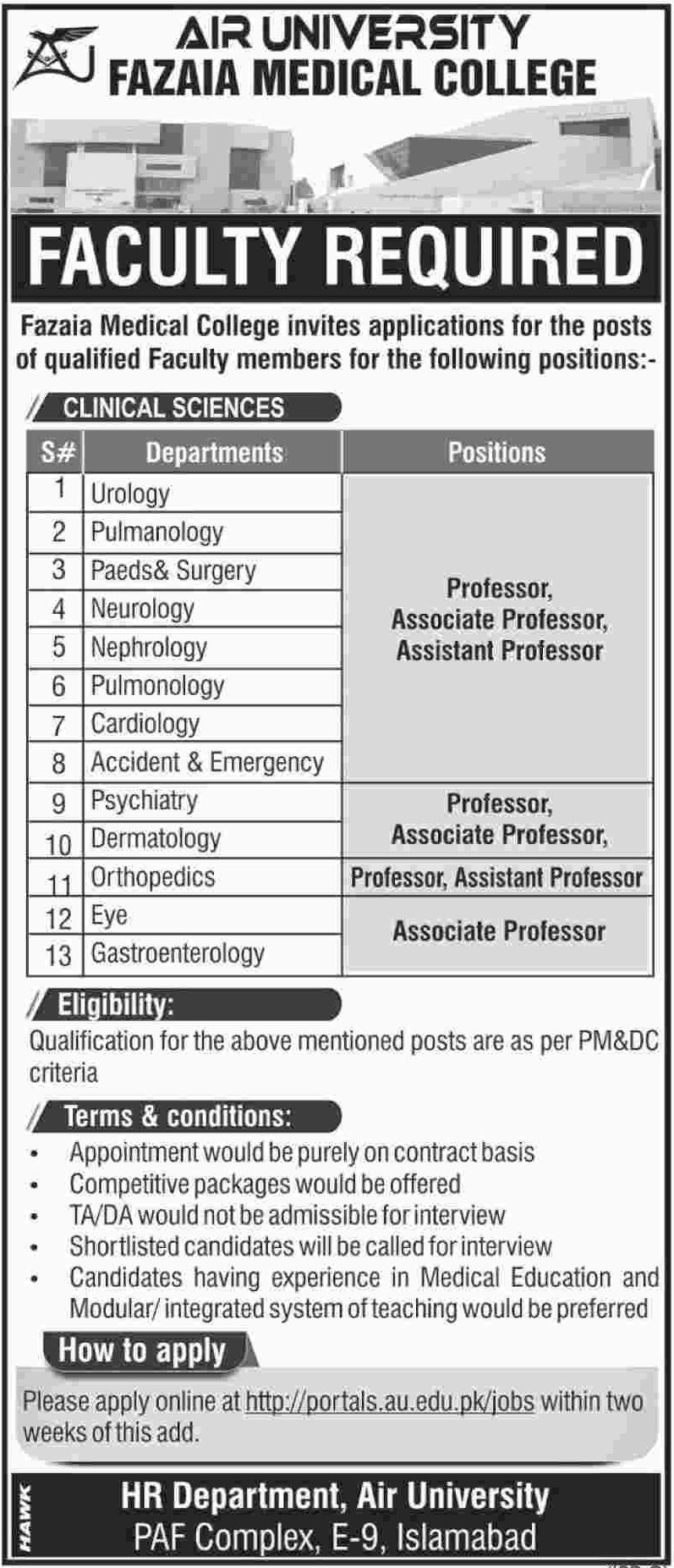Fazaia Medical College Jobs 2019 Air University Islamabad Latest