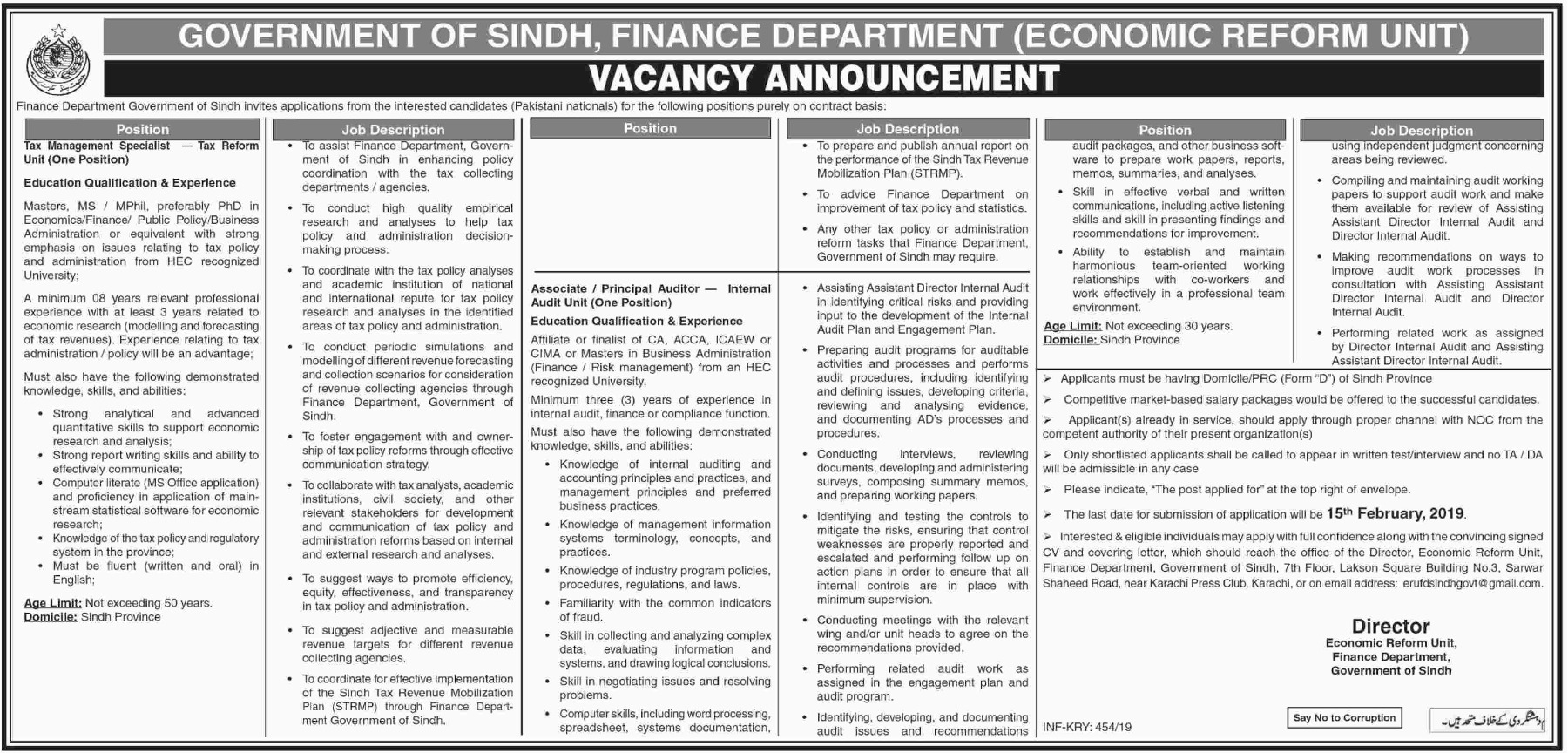 Finance Department Jobs 2019 Government of Sindh