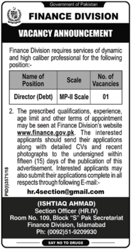 Finance Division Jobs 2019 Govt of Pakistan Latest
