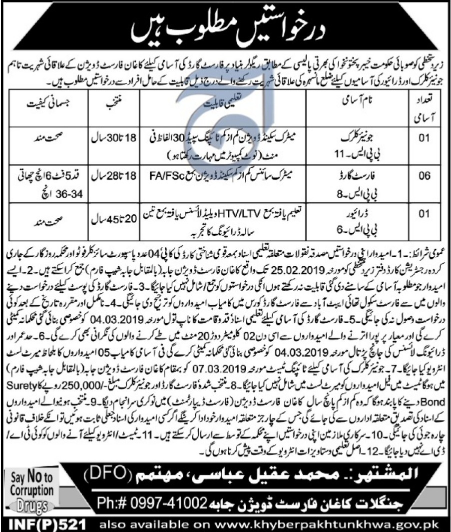 Forest Department Jobs 2019 KPK Latest Forest Guard