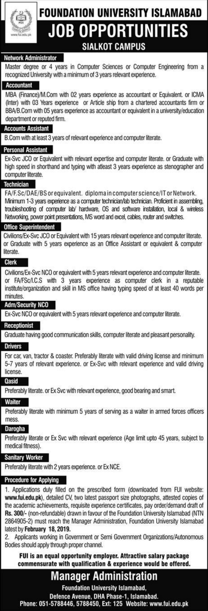 Foundation University Islamabad Jobs 2019 Sialkot