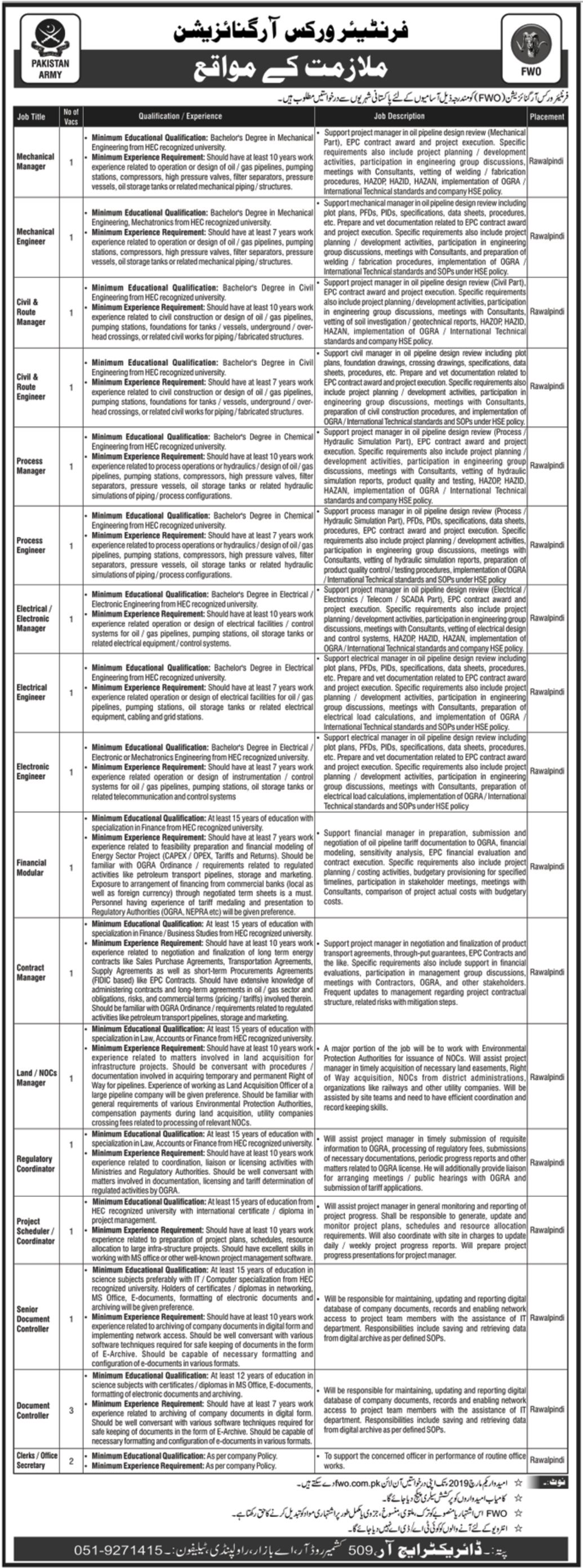 Frontier Works Organization Jobs 2019 FWO Rawalpindi Latest
