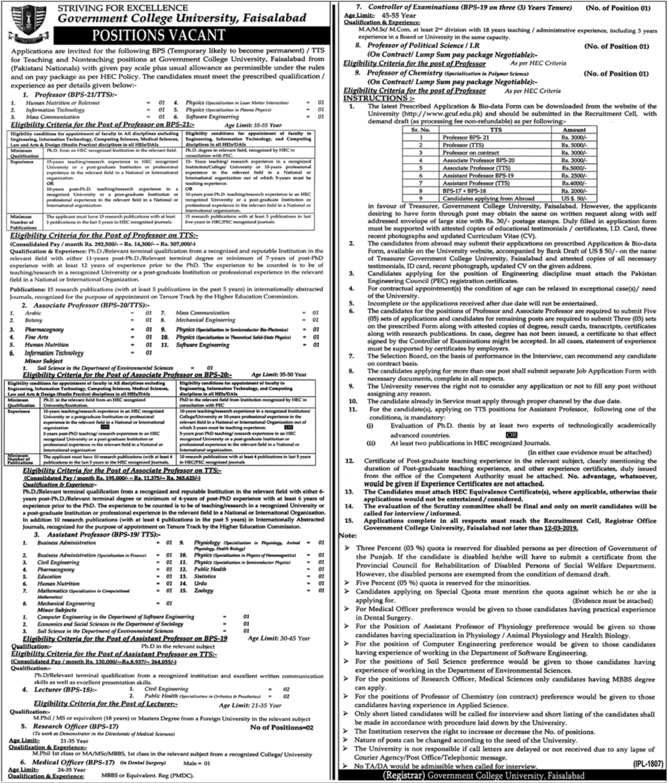 Government College University Faisalabad Jobs 2019 GCU Latest