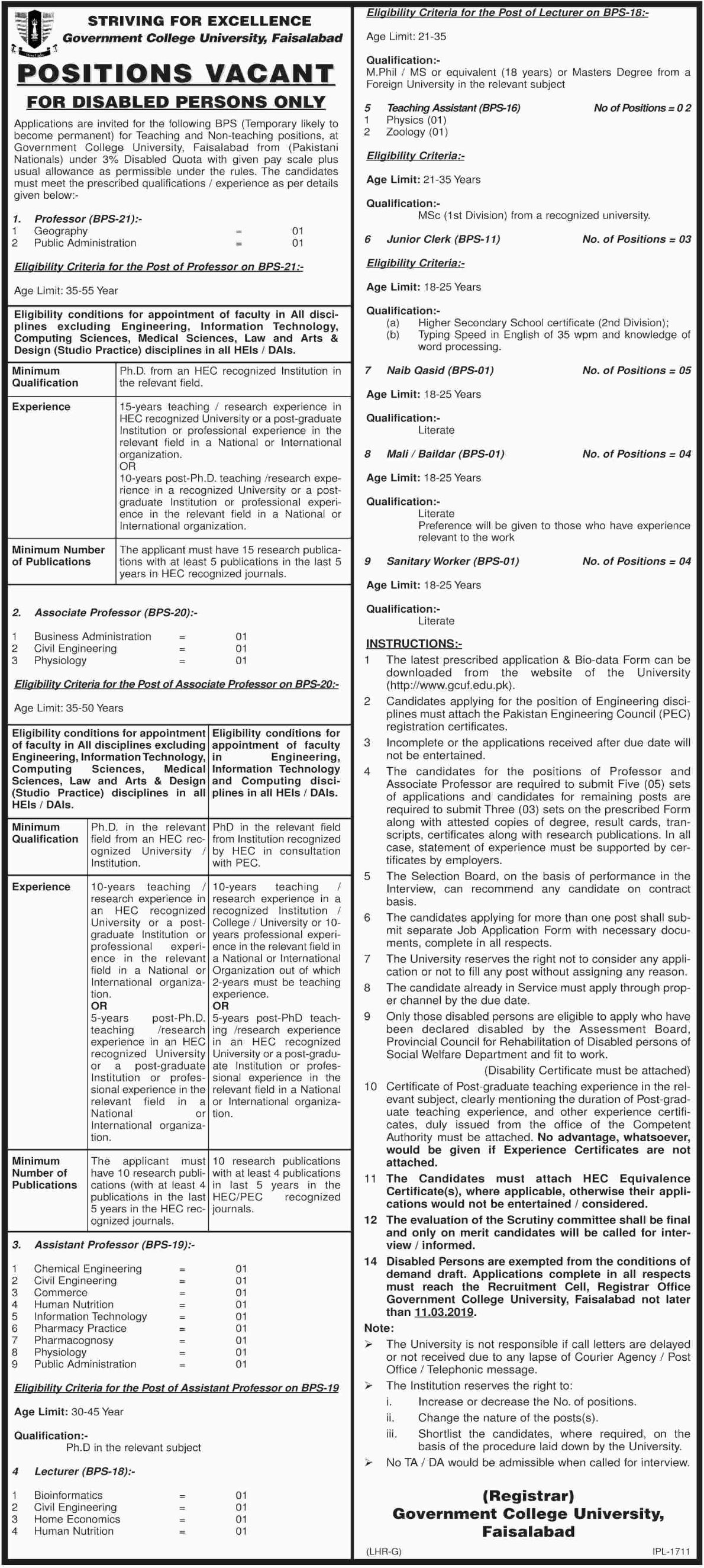 Government College University Faisalabad Jobs 2019 GCU
