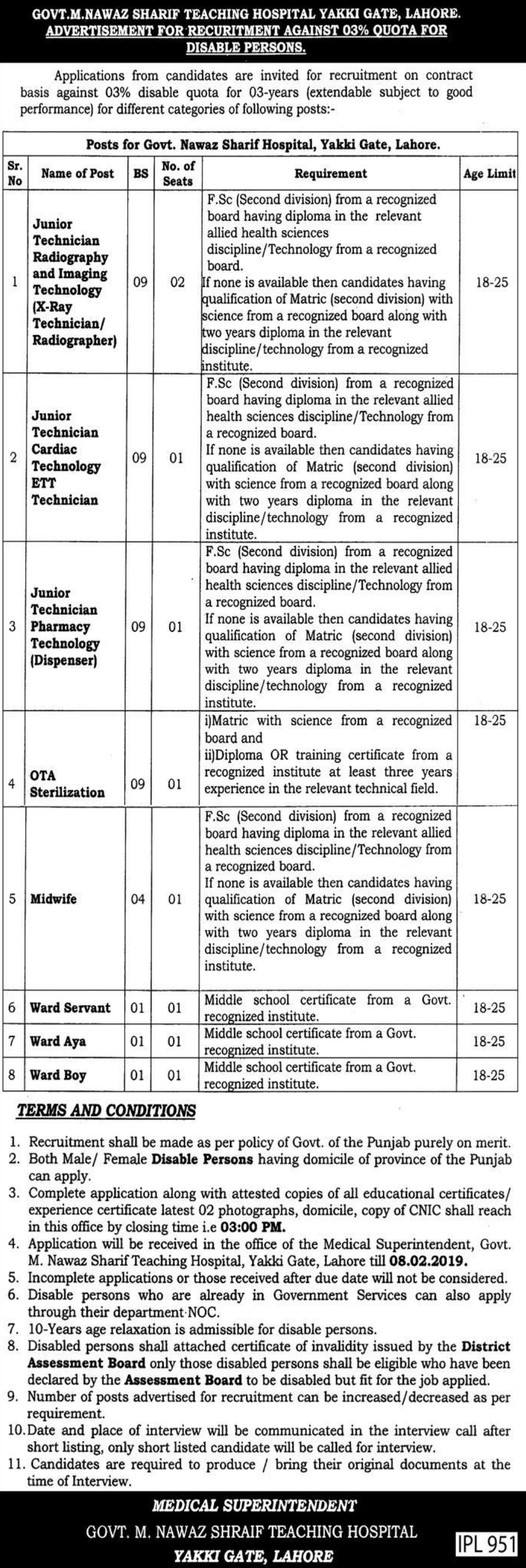 Govt M. Nawaz Sharif Teaching Hospital Yakki Gate Lahore Jobs 2019