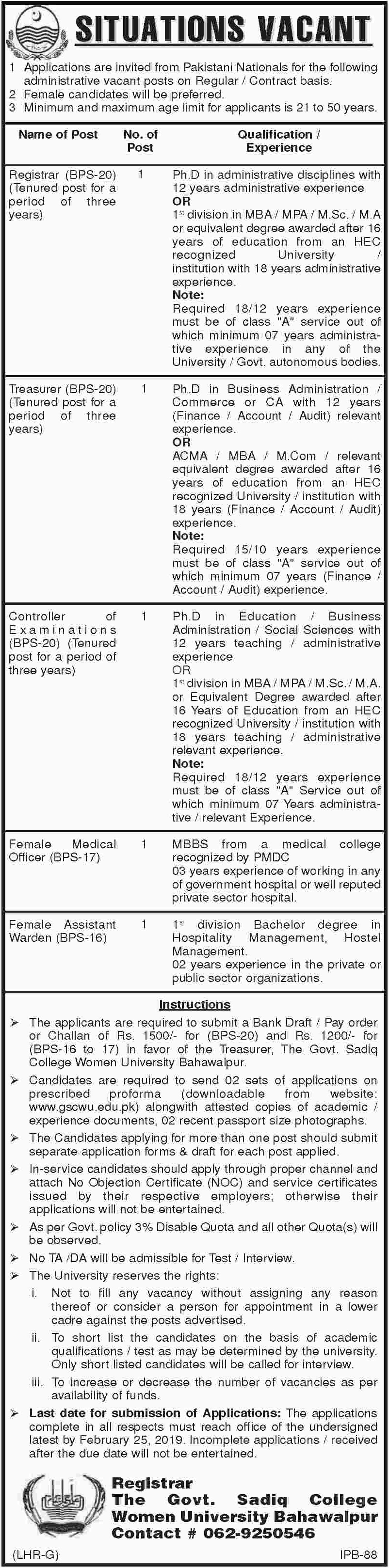 Govt Sadiq College Women University Bahawalpur Jobs 2019 Latest