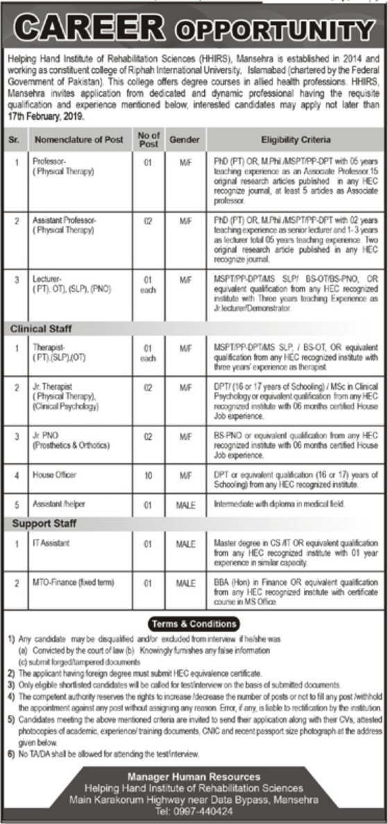 Helping Hand Institute of Rehabilitation Sciences Mansehra Jobs 2019 Latest