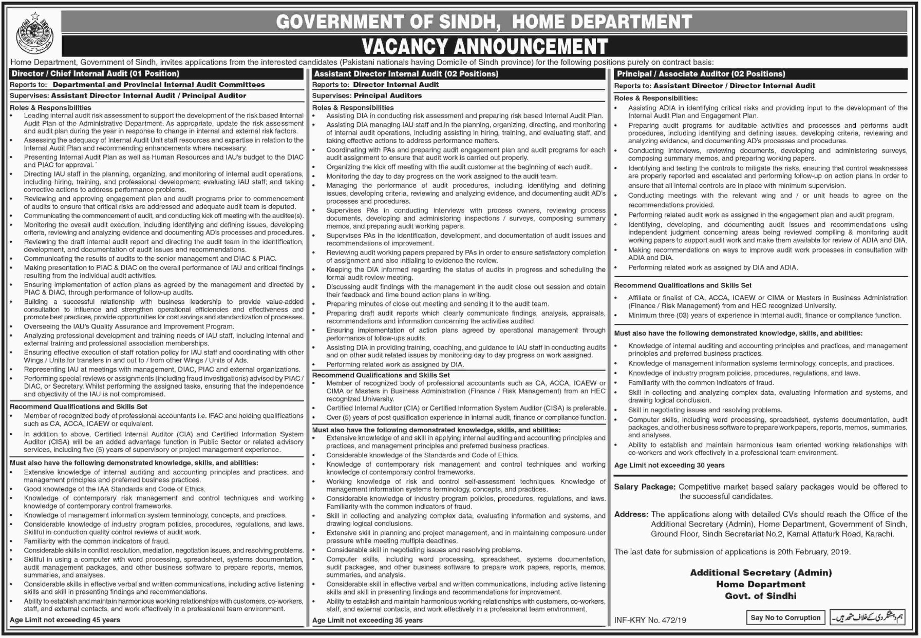 Home Department Jobs 2019 Government of Sindh Latest