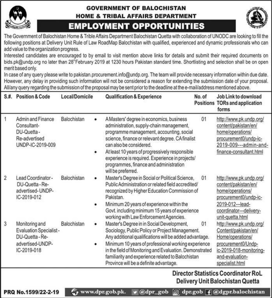 Home & Tribal Affairs Department Balochistan Jobs 2019 Quetta
