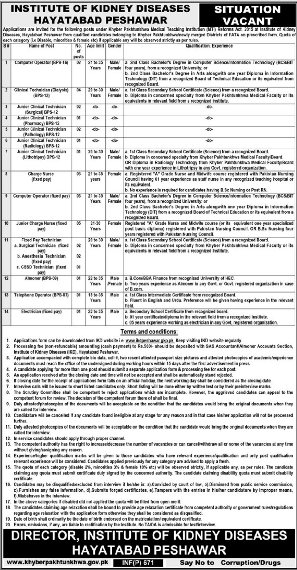 Institute of Kidney Diseases Peshawar Jobs 2019 IKD KPK Latest