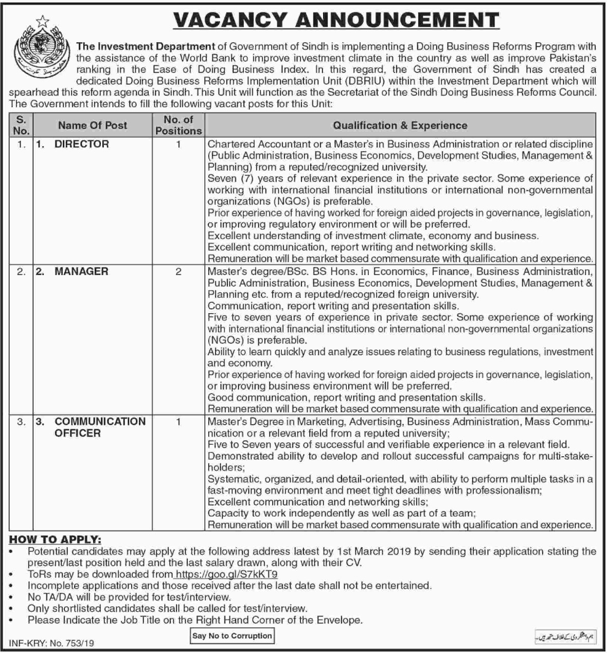 Investment Department Jobs 2019 Government of Sindh Latest