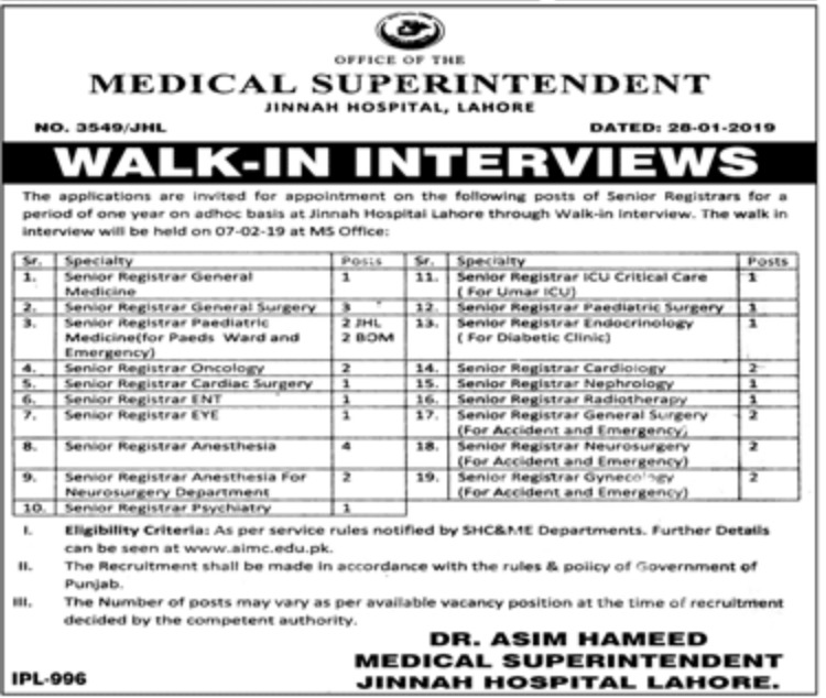 Jinnah Hospital Lahore Jobs 2019 Senior Registrar