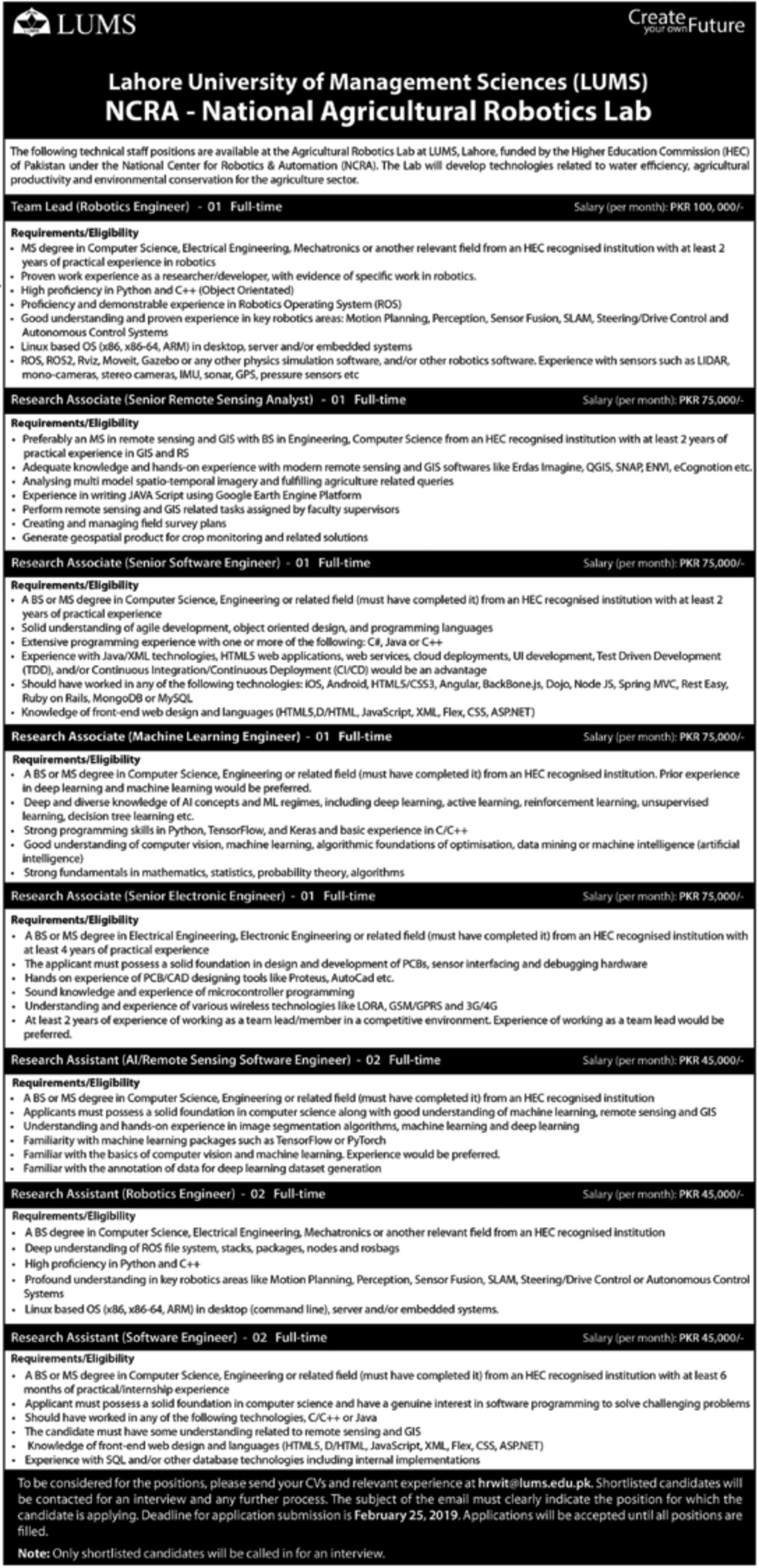 LUMS Jobs 2019 Lahore University of Management Sciences Latest