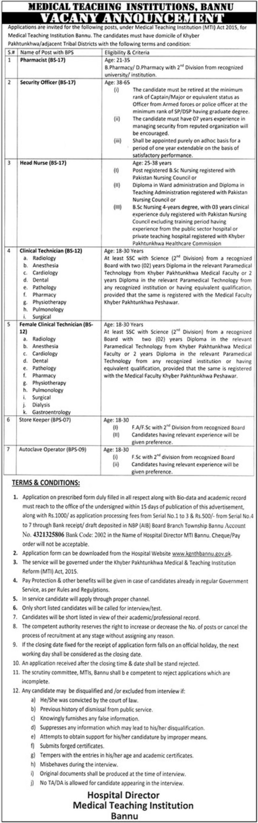 Medical Teaching Institution Bannu Jobs 2019 MTI KPK Latest