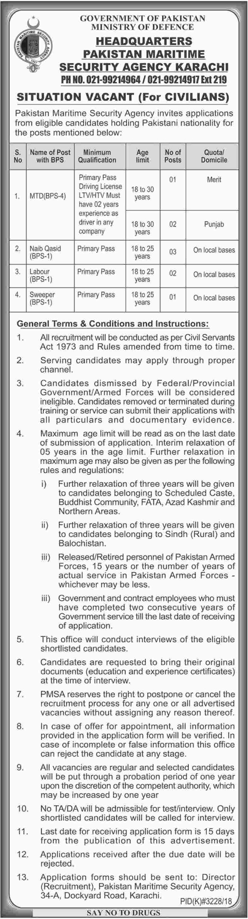 Ministry of Defence Jobs 2019 Pakistan Maritime Security Agency Karachi Latest