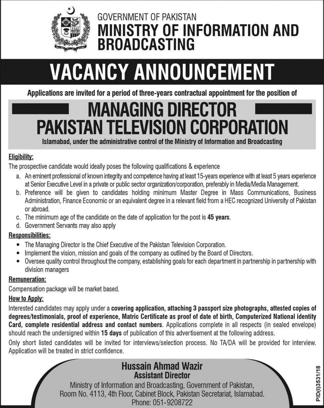 Ministry of Information and Broadcasting Jobs 2019 Latest