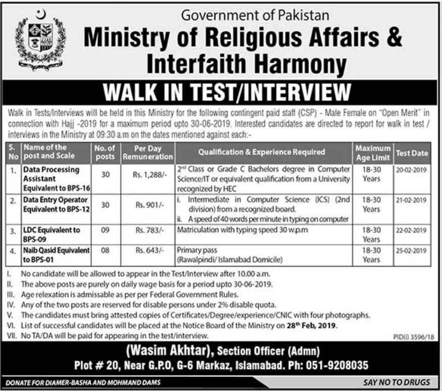 Ministry of Religious Affairs & Interfaith Harmony Jobs 2019 Latest