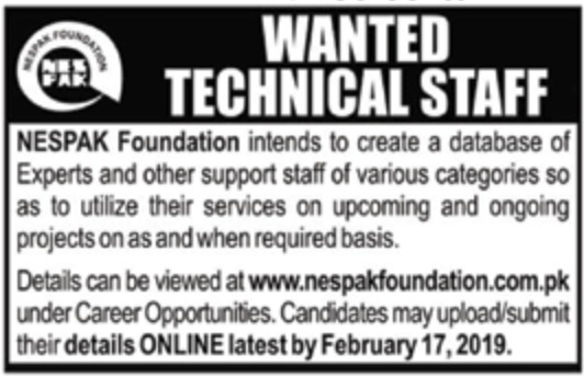 NESPAK Foundation Jobs 2019 Experts & Resident Engineers