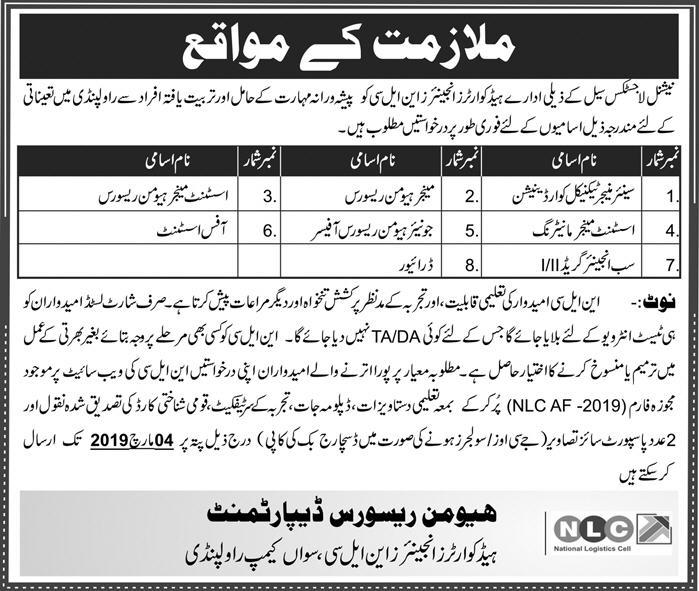 NLC Jobs 2019 National Logistics Cell Rawalpindi Latest