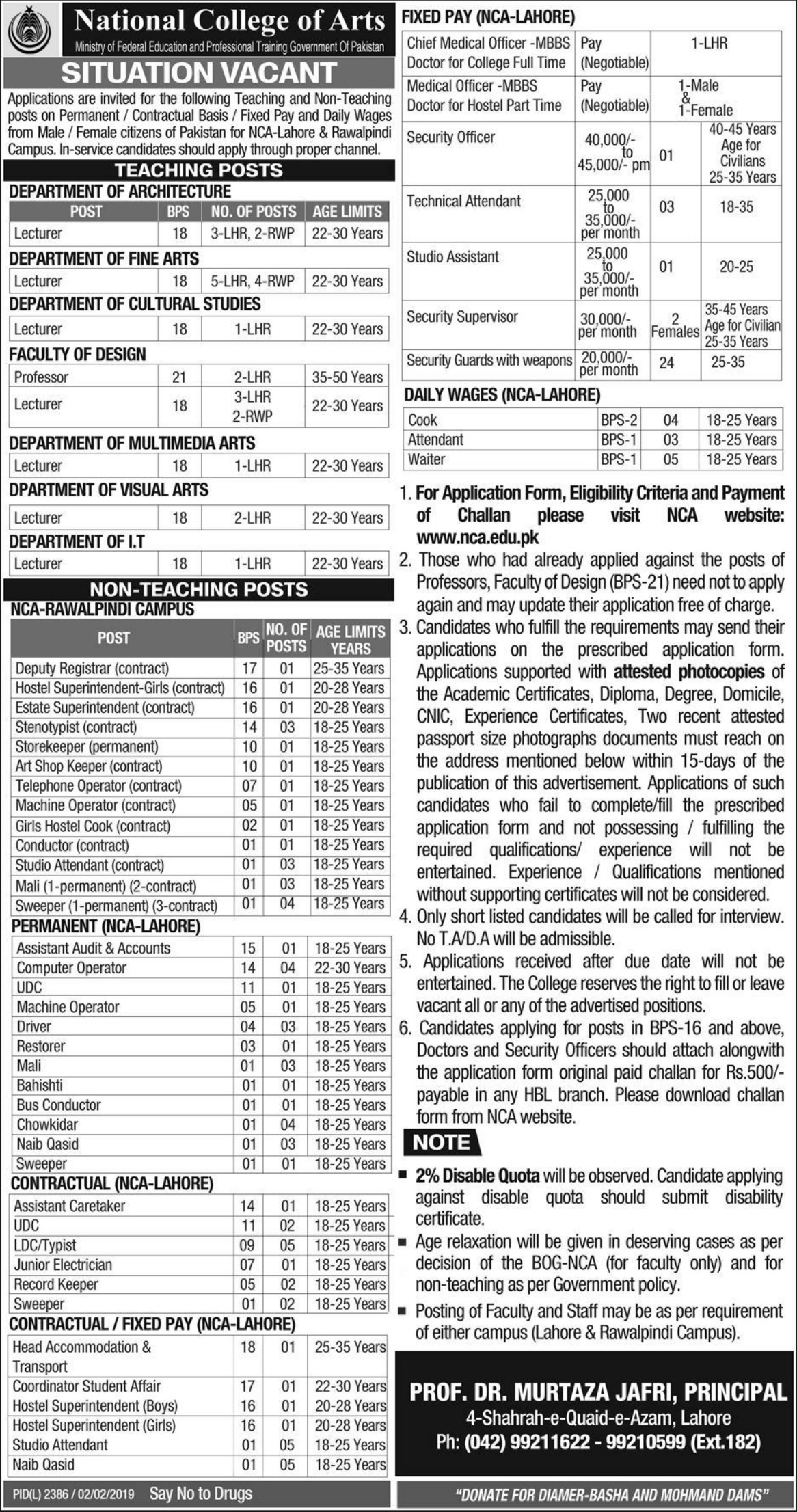 National College of Arts Jobs 2019 NCA Lahore & Rawalpindi
