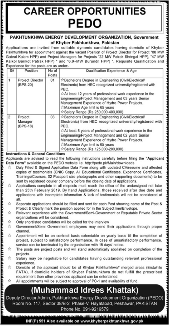 PEDO Jobs 2019 Pakhtunkhwa Energy Development Organization Latest
