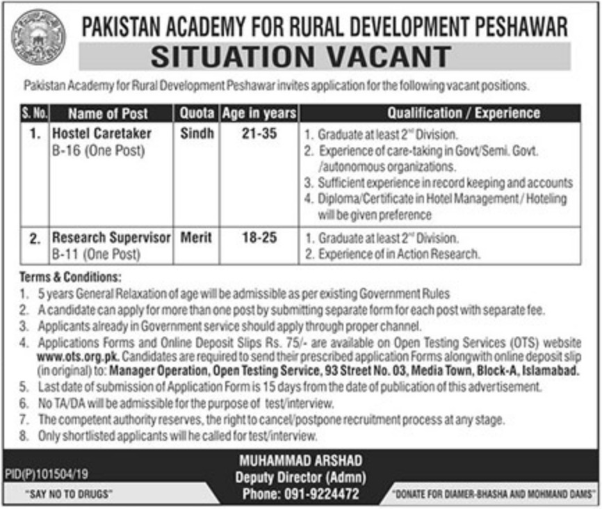 Pakistan Academy for Rural Development Peshawar Jobs 2019 KPK Latest