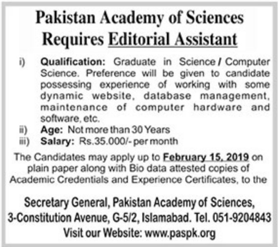 Pakistan Academy of Sciences Jobs 2019 Islamabad Latest
