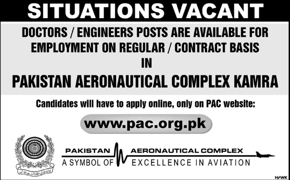 Pakistan Aeronautical Complex Jobs 2019 PAC Kamra Latest
