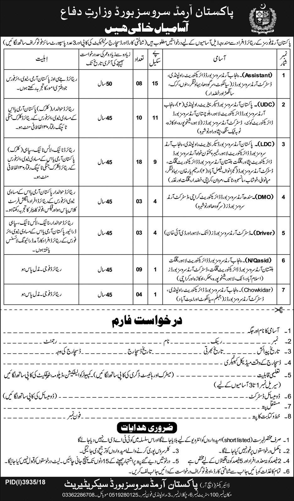 Pakistan Armed Services Board Jobs 2019 Ministry of Defence Latest