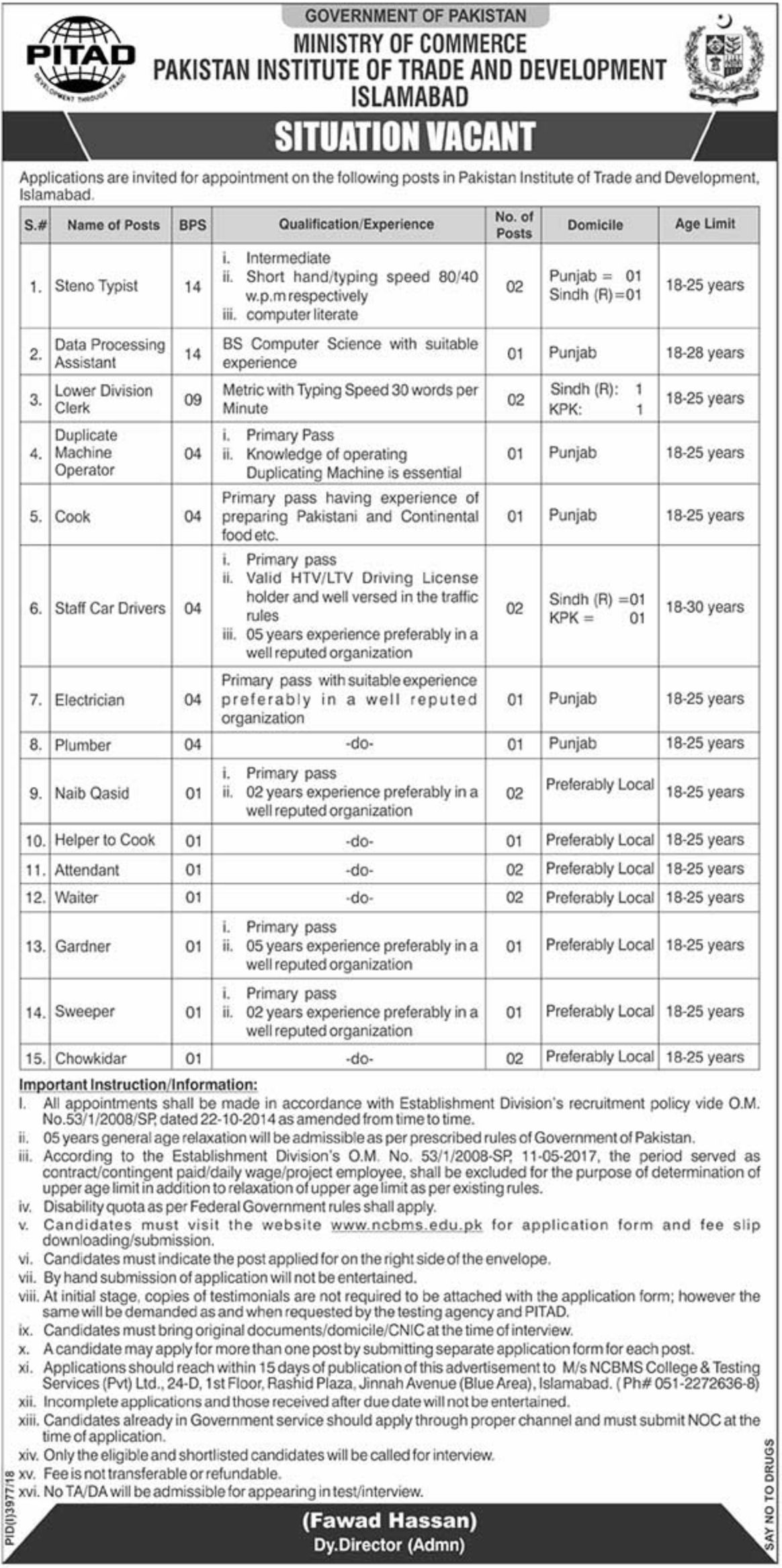 Pakistan Institute of Trade and Development PITAD Jobs 2019 NCBMS